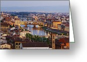 Overhead Greeting Cards - Skyline of Historic Florence Greeting Card by Jeremy Woodhouse