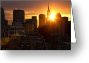 Sun Flare Greeting Cards - Skyline Sunrise Greeting Card by Janet Fikar