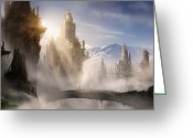 Games Greeting Cards - Skyrim Fantasy Ruins Greeting Card by Alex Ruiz