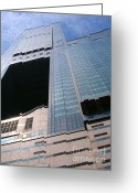 Azure Blue Greeting Cards - Skyscraper View Greeting Card by Yali Shi
