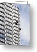 Washing Greeting Cards - Skyscraper Window-Washers - Take a walk in the clouds Greeting Card by Christine Till