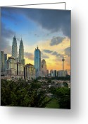 Communications Tower Greeting Cards - Skyscrapers At Sunset In Kuala Lumpur Greeting Card by AaronLam