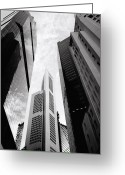 Vertigo Greeting Cards - Skyscrapers in the Central Business District skyline in Singapore Greeting Card by Shaun Higson