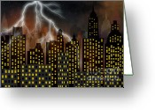 Ghostly Greeting Cards - Skyscrapers Greeting Card by Michal Boubin