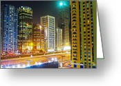 Sheikh Greeting Cards - Skyscrapers On Sheikh Zayed Road, Night Greeting Card by Scott E Barbour