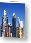 Sheikh Greeting Cards - Skyscrapers On Sheikh Zayed Road Greeting Card by Scott E Barbour