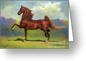 Horse Art Greeting Cards - Skywatch Greeting Card by Jeanne Newton Schoborg