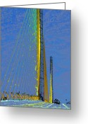 Florida Bridge Digital Art Greeting Cards - Skyway crossing Greeting Card by David Lee Thompson