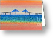 Florida Bridge Digital Art Greeting Cards - Skyway Morning Greeting Card by David Lee Thompson