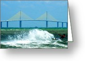 Florida Bridge Digital Art Greeting Cards - Skyway Splash Greeting Card by David Lee Thompson