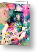 Concert Painting Greeting Cards - Slash Greeting Card by Rosalina Atanasova