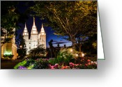 Mormon Temple Photography Greeting Cards - SLC Mother and Children Greeting Card by La Rae  Roberts