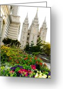 Mormon Temple Photography Greeting Cards - SLC Slant Greeting Card by La Rae  Roberts