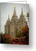 Building Tapestries Textiles Greeting Cards - SLC Temple Angle Greeting Card by La Rae  Roberts