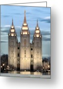 Church Photo Greeting Cards - SLC Temple Blue Greeting Card by La Rae  Roberts