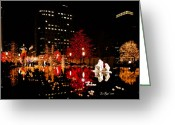 Mormon Temple Photography Greeting Cards - SLC Temple Nativity Pond Greeting Card by La Rae  Roberts
