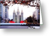 Salt Lake City Temple Photo Greeting Cards - SLC Temple Red and White Greeting Card by La Rae  Roberts
