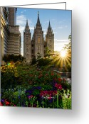 Mormon Temple Photography Greeting Cards - SLC Temple Sunburst Greeting Card by La Rae  Roberts