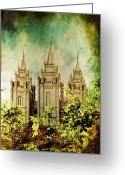 Mormon Temple Photography Greeting Cards - SLC Vintage Green Greeting Card by La Rae  Roberts