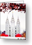 Salt Lake City Temple Photo Greeting Cards - SLC White n Red Temple Greeting Card by La Rae  Roberts