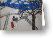 Sled.fence Greeting Cards - Sled riding Greeting Card by Jeffrey Koss