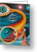 Jungian Greeting Cards - Sleep Paralysis and the Tunnel of the Looking Glass Greeting Card by Jon Gemma In Your Living Room