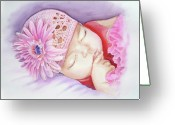 Baby Girl Greeting Cards - Sleeping Baby Greeting Card by Irina Sztukowski