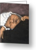 Originals Pastels Greeting Cards - Sleeping Baby Greeting Card by L Cooper