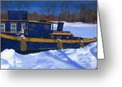 Winter Art Greeting Cards - Sleeping Barge Greeting Card by Lynne Reichhart