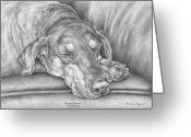Dobermann Greeting Cards - Sleeping Beauty - Doberman Pinscher Dog Art Print Greeting Card by Kelli Swan