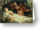 Chivalry Greeting Cards - Sleeping Beauty Greeting Card by Richard Eisermann