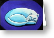 Esson Greeting Cards - Sleeping Cat Greeting Card by Genevieve Esson