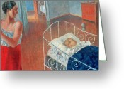 Babysitting Greeting Cards - Sleeping Child Greeting Card by Kuzma Sergeevich Petrov Vodkin