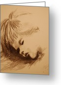 Nursury Greeting Cards - Sleeping child Greeting Card by Lynn Beazley Blair