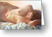 Nudes Greeting Cards - Sleeping Figure Greeting Card by Pauline Adair