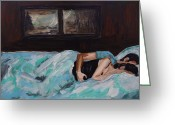 Couples Painting Greeting Cards - Sleeping In Greeting Card by Leslie Allen