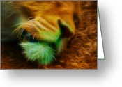 Felidae Digital Art Greeting Cards - Sleeping Lion 2 Greeting Card by Chris Thaxter