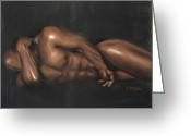 Black Art Greeting Cards - Sleeping Nude Greeting Card by L Cooper