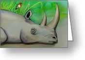 African Animals Painting Greeting Cards - Sleeping Rino Greeting Card by Robert Lacy