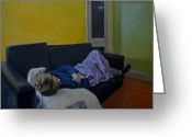 Freud Greeting Cards - Sleeping Woman with Remote Control Greeting Card by Otto Farkas