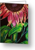 Orange Pastels Greeting Cards - Sleepy Sunflower Greeting Card by Sandi Dawn McWilliams