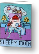 Purples Mixed Media Greeting Cards - Sleepy Tooth Greeting Card by Anthony Falbo
