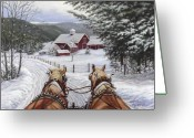 Driving Team Greeting Cards - Sleigh Bells Greeting Card by Richard De Wolfe