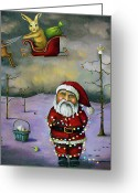 Christmas Greeting Cards - Sleigh Jacker Greeting Card by Leah Saulnier The Painting Maniac