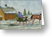 Quarter Horse Greeting Cards - Sleigh Ride Greeting Card by Charlotte Blanchard