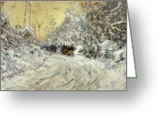 Sleigh Ride Greeting Cards - Sleigh Ride in Central Park Greeting Card by Childe Hassam