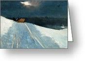 Slush Greeting Cards - Sleigh Ride Greeting Card by Winslow Homer