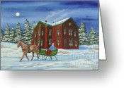 Sleigh Ride Greeting Cards - Sleigh Ride With A Full Moon Greeting Card by Charlotte Blanchard