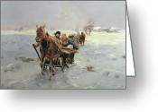Sleigh Ride Greeting Cards - Sleighs in a Winter Landscape Greeting Card by Janina Konarsky