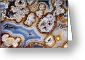Honeycomb Greeting Cards - Slice Of Honeycomb Agate Greeting Card by Dirk Wiersma